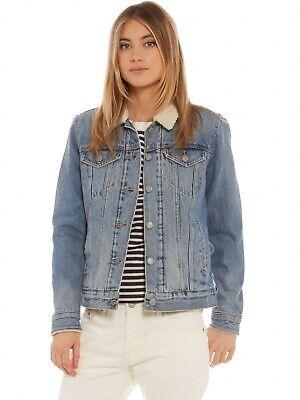 Giacca Jeans Donna LEVI'S TRUCKER SHERPA 19736-0000 Denim Blu con Pelliccia