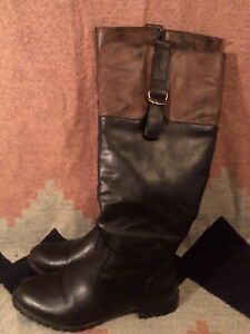 Black Faux Leather Lined Boots.