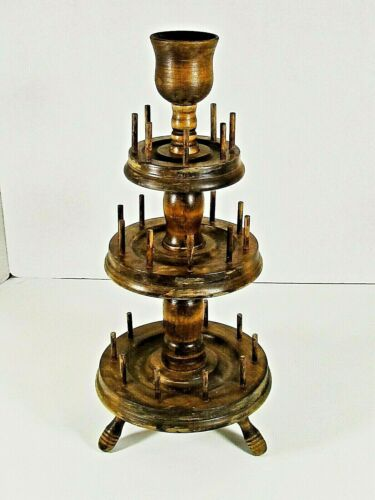 """Antique All Wood Spinning Thread Tree 15"""" High 3 Tiers Sewing Spools NICE COND"""