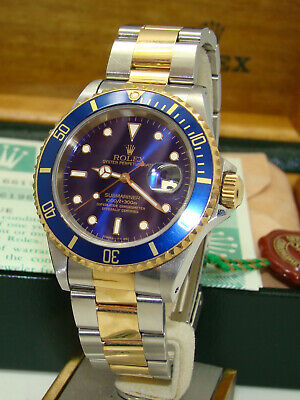 ROLEX MENS STAINLESS & 18K GOLD AUTOMATIC 16613 SUBMARINER WATCH 1991 BOX/PAPERS