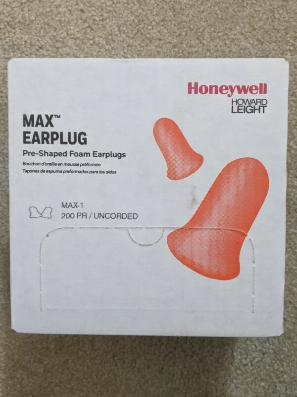 Honeywell Howard Leight MAX-1 NR33 Uncorded Foam Earplugs, Box 200 Pair, Orange