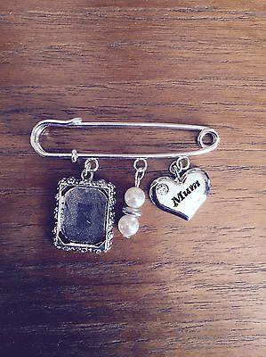 Grooms Memory Pin - Square Photo Frame Made With Swarovski Glass Beads Mum Charm