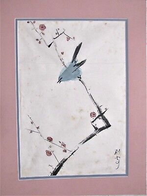 Japanese Watercolor - Bird on a Branch