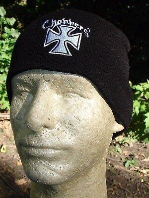 Embroidered Maltese Iron Cross Choppers White Black Beanie Knit Cap Biker Hat