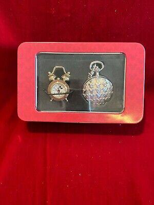Disney Mickey Pocket Watch & Miniature Desk Clock NEW IN TIN Never used Vtg