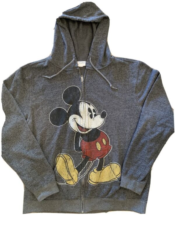 Disney Parks Mickey Mouse Jacket Full Zip XL Heathered Gray Hoodie 79563 Comfy