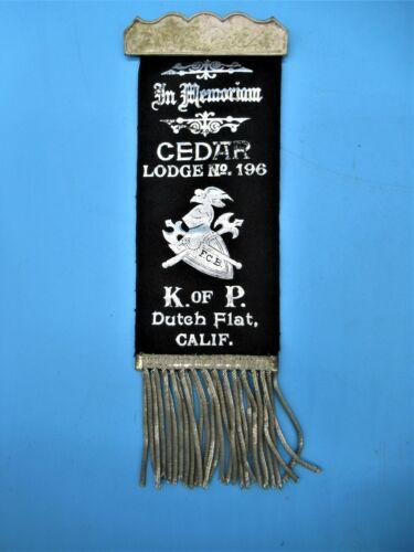 19th Century Knights Of Pythias Badge/Ribbon Cedar Lodge No. 196 Dutch Flat, CA