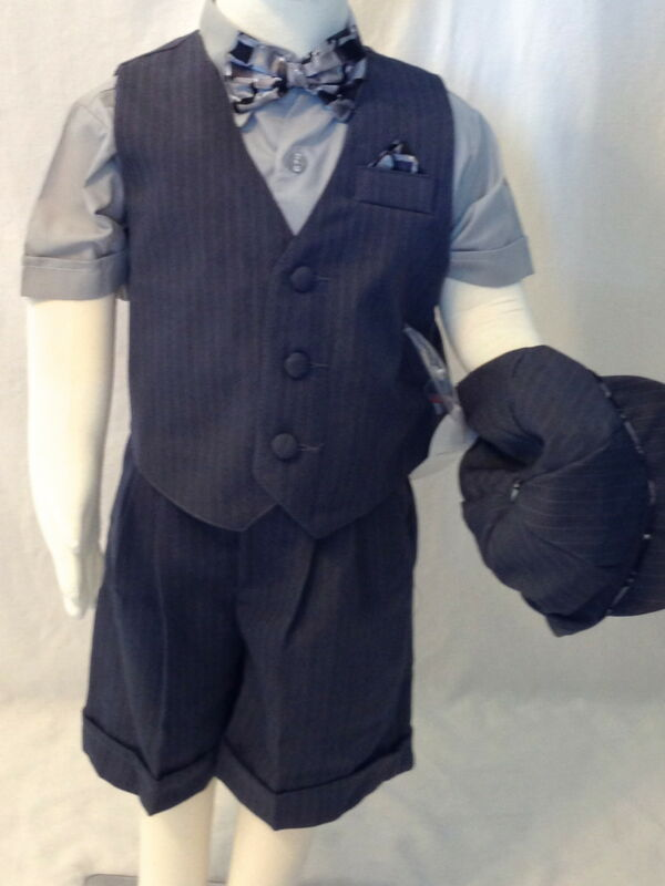NWT Formal Short Set Boys Bow Ties Vest Grey Blue Size 3-6-9-12-18-24 M 2T 3T 4T