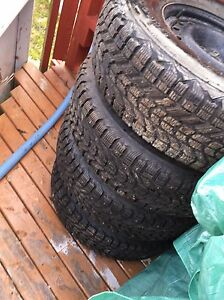 P245/75/R16 studied tires on steel rims.