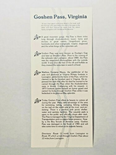 Vintage Travel Brochure Information Leaflet GOSHEN PASS Virginia VA