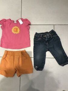 Gymboree shirt shorts jeans baby girl clothes lot 6-12 month