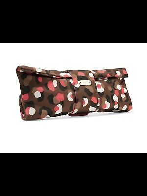 Red Valentino Printed Shell Clutch in Chocolate/Fuchsia NWT Retails $335