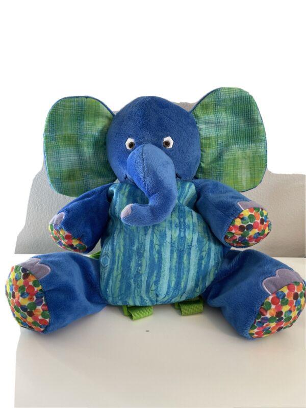 "Eric Carle Elephant Backpack  13""  Plush Stuffed Animal W/ Safety Harness Leash"