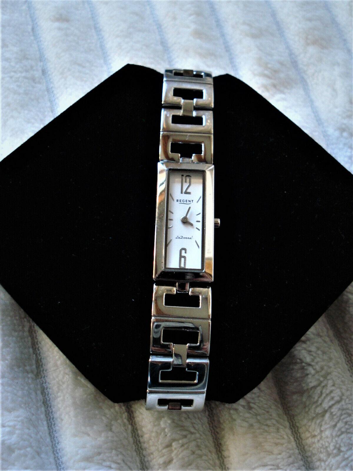 REGENT Uhr LD1123 La Donna! eckige flache Damen Armbanduhr silber-farbig