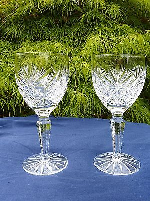 "2 x Edinburgh Crystal Glass Royal Wine Glasses 6.5/8"" tall signed"