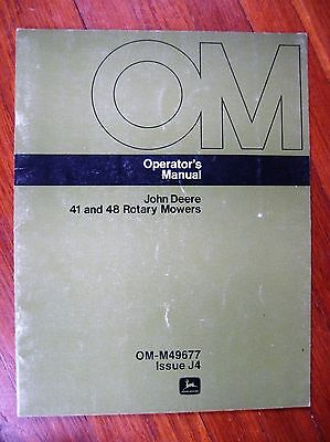John Deere 41 48 Mower Operators manual 300 140 120 Tractor