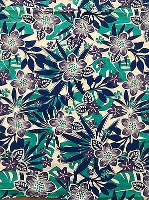 Tropical Hawaiian Print  Blue Cotton Fabric, Brilliant! by JoAnn's 2 3/4 Yards