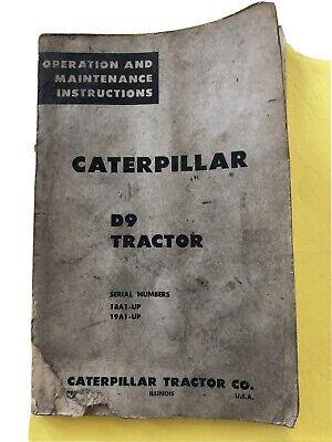 Vintage Caterpillar D9 Tractor Bulldozer Crawler Maintain Operation Book Catalog