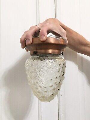 Vtg Mid Century Modern Ceiling Flush Mount Ceiling Light Fixture Bubble Glass