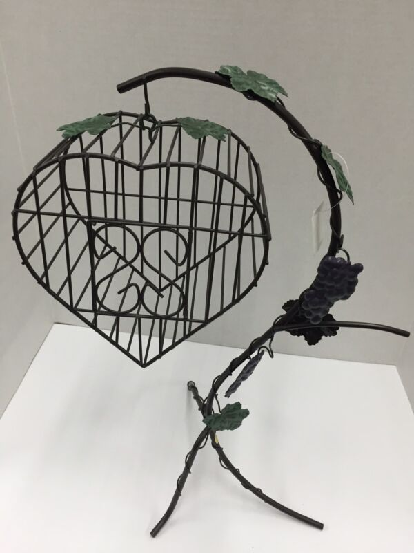 Decorative Bird Cage Cork Holder In the Shape of a Heart (NEW)
