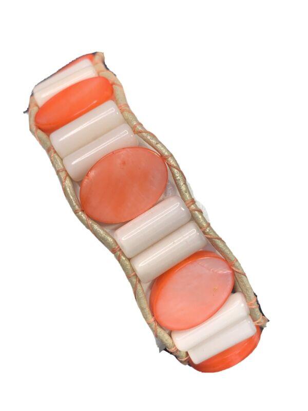 """Bracelet Bohemian Peach MOP Woven Beaded Wrap Bracelet 8"""" Long 1 1/4"""" Wide"""