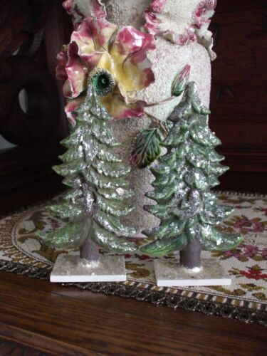 Marolin Christmas Pine Trees Paper Mache Real Mica Glitter Nativity Putz Germany