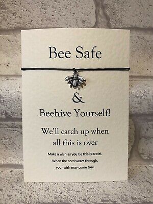 Be Safe Wish Bracelet & Message Card Positive Friendship Family Gift. Bee Charm