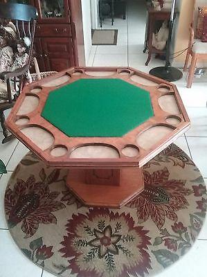 Antique poker table 2 sided oak/ash/seats 8/vintage