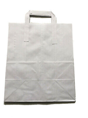 200 x White Paper Carrier Bags with Flat Handles Large White 11x10x5