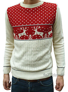 Christmas-Xmas-JUMPER-vtg-indie-retro-70s-kitsch-novelty-festive-Red-Reindeer