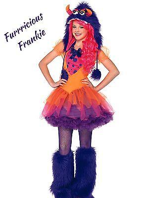 ✔️✔️Teen Girls Orange Furrocious Frankie Monster Halloween Costume Fancy Dress