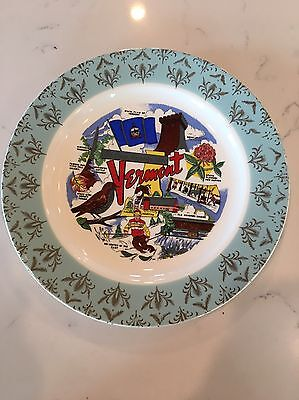 Vintage Vermont Collectible Souvenir Plate Green MT State Covered Bridge Ski