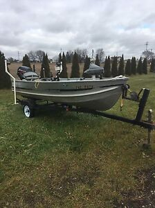 14 Ft Aluminum Boat with 15hp Mercury Outboard