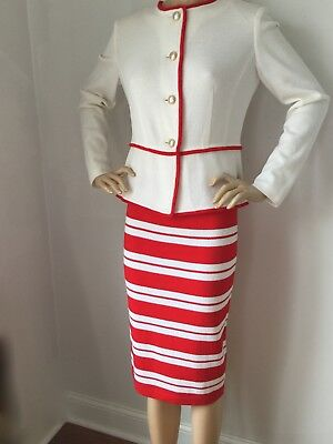 St Johns Red Sea (NWT St John Knit Suit skirt jacket size 12 red sea coral santana wool)