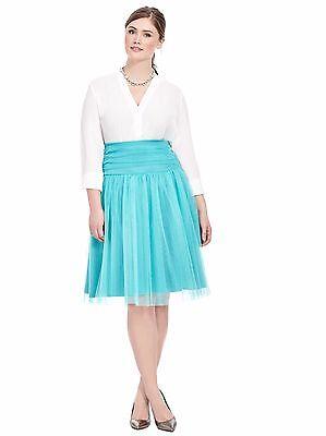 Kiyonna Plus Size 3X Tutu Tulle Twirl Skirt Turquoise Blue Green Retro Vintage](Plus Size Tulle Skirt)