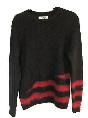 John Undercover JUR9901-2 Crewneck Knit Mohair Blend Stripe Sweater Black & Red