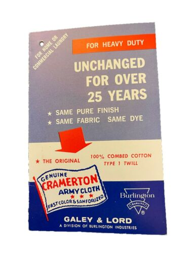 Galey Lord Genuine Cramerton Army Cloth Clothing Tag Vintage New Old Stock 60s