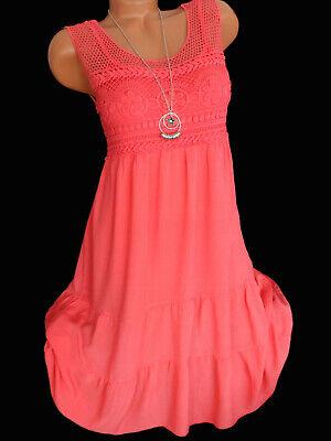 Italy Sommerkleid Häkelspitze Lagenlook Coral Tunika Kleid Trägerkleid 38 40