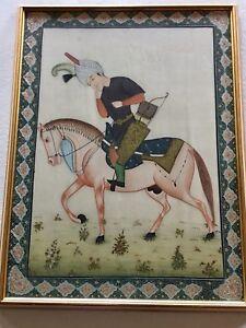 Vintage Indian large silk painting, framed