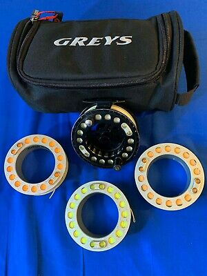GREYS GX500 FLY REEL WITH 4 SPOOLS LOADED WITH GOOD FLY LINES