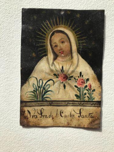 Antique retablo Mexico Spanish colonial art oil on tin