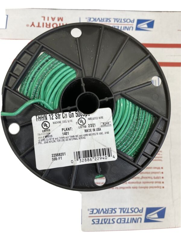 NEW- SOUTHWIRE 3580867 GREEN 500 FT Roll #12AWG  Stranded THHN Wire