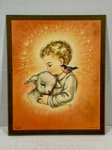CHARLOT BYJ Vintage Baby Angel WOOD PLAQUE 1958 - Litho In Italy