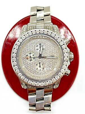 10 Carat Round White Diamond Mens Breitling Super Avenger A13370 Watch 48mm 300M