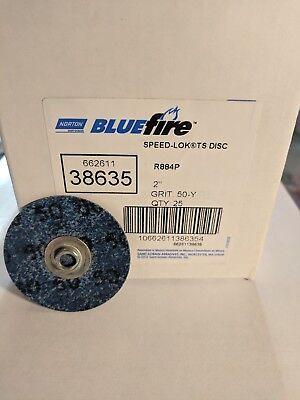 Speed-lok Ts Abrasive Disc (Norton 38635, 2in, 50-Grit Blue Fire R8884P Speed-Lok TS Abrasive Discs (25/Bx) )