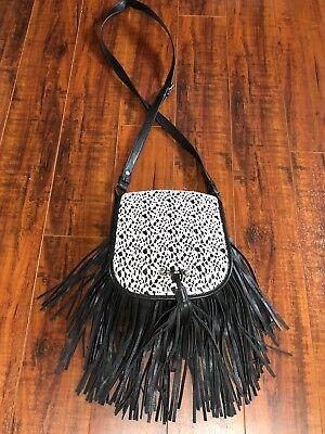 BoHo Hippie Faux Leather Black Fringe Cream Eyelet Accent Cross Body Bag Purse