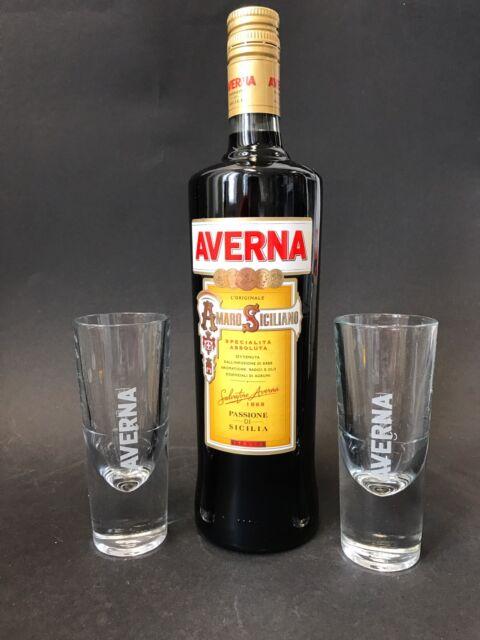 Averna Amaro Siciliano Kräuterbitter 1l Liter 29% Vol + 2 Averna Glas Gläser