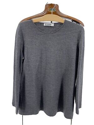 Jil Sander Wool Long Sleeve Top Shirt Dark Gray Medium Made In Italy