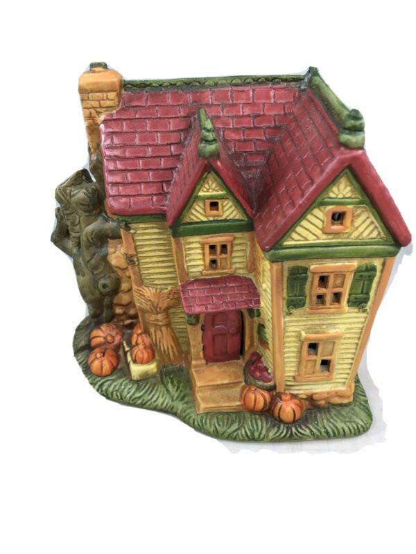 Hallmark Lighted Ceramic Haunted House w/ Paper Tag Originally $19.95 Pumpkin