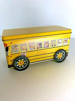 Vintage Tinscapes 1992 The School Bus Container w/ Lid Illustrator Jack Stockman